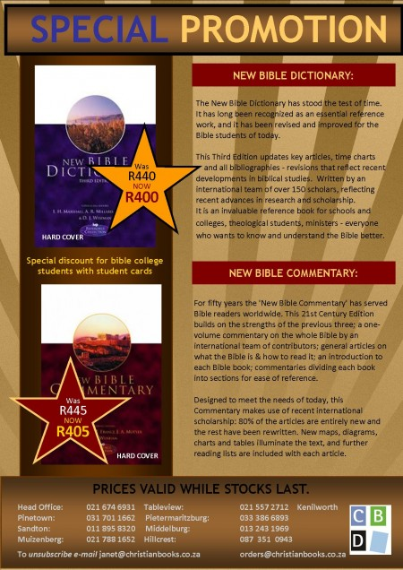 Bible Commentary & Dictionary Promotion March 2014